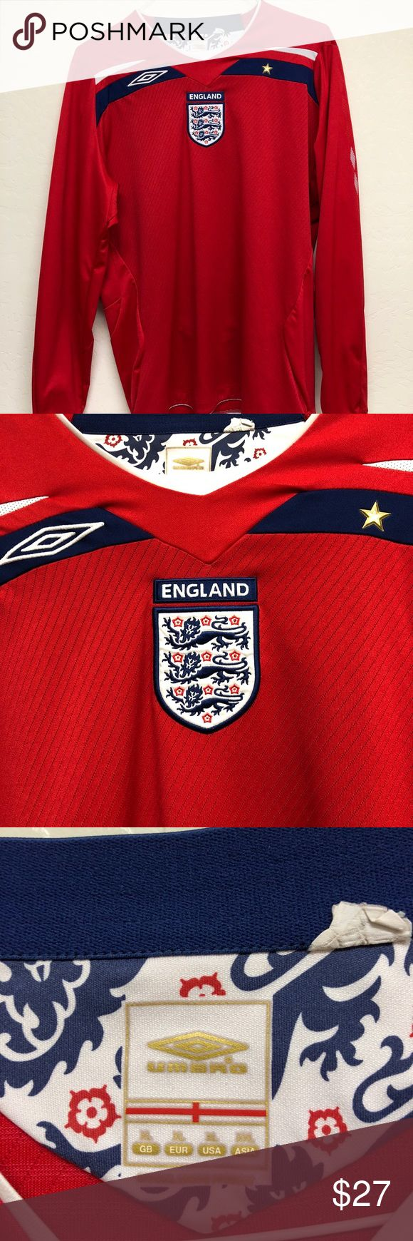 England Away Soccer Jersey Kit Red 2008-10 size XL England Away Soccer Jersey Kit Red 2008-10 size XL Umbro ⚽️  Pre Owned 8/10 Condition   No Returns   Only Shipping to the USA 🇺🇸  #England #Soccer #futbol #red #long #sleeve #longsleeve #jersey #kit #umbro Umbro Other