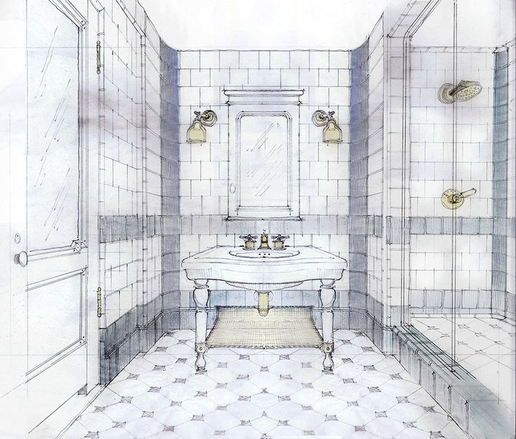 Hotel Emma Bathroom Drawing By Stephen Alesch Interior