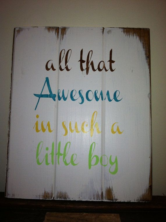"""All that Awesome in such a little boy 13""""x10 1/2"""" hand painted wood sign for boys - baby boy decor - boys room - baby gift"""