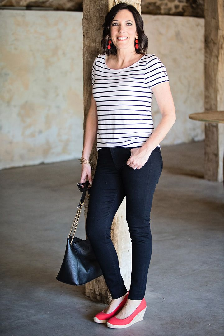 12422ded196b 5 Ways to Wear Black Jeans for Summer  ( 1) with stripe top and red  espadrille wedges... click through to see more!