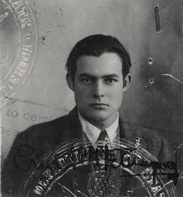 Hemingway's 1st passport photo, 1923.  He was unknown at this time.