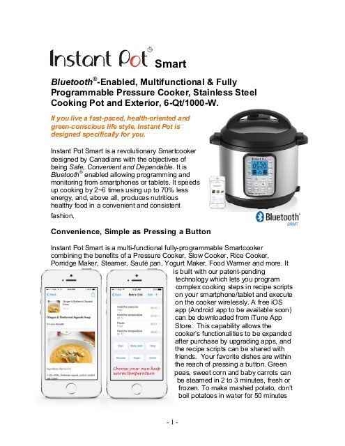 Instant Pot The World's first Bluetooth Smartcooker Instant Pot Smart - Manual