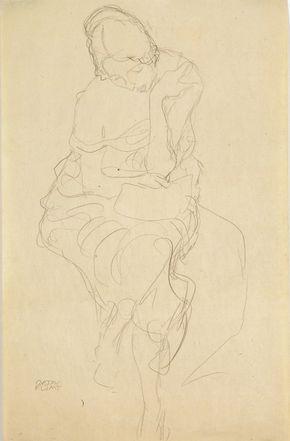 Gustav Klimt Igura Femminile Seduta Auf Einem Hocker Sitzende Von
