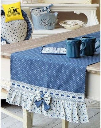 Runner Angelica Home & Country Collezione Cuori Oceano Pois Shabby chic