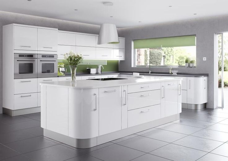 Shiny Modern Kitchen Design 2014 With White Gloss Island Kitchen Plus Drawer And Door On Grey