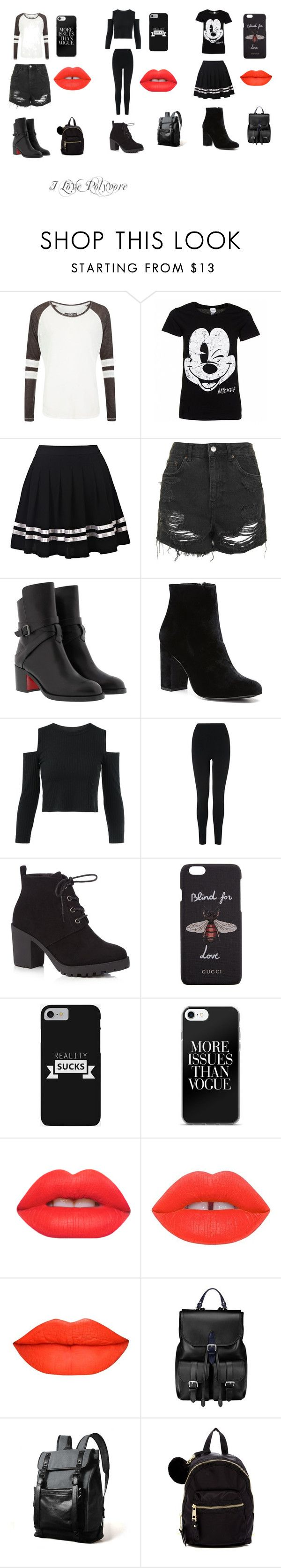 """which outfis"" by unique12-132 on Polyvore featuring Superdry, Disney, Topshop, Christian Louboutin, Witchery, L.K.Bennett, Red Herring, Gucci, Lime Crime and Aspinal of London"