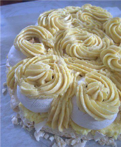 Торт безе с заварным и сгущёно карамельным кремом - Сладкий мир