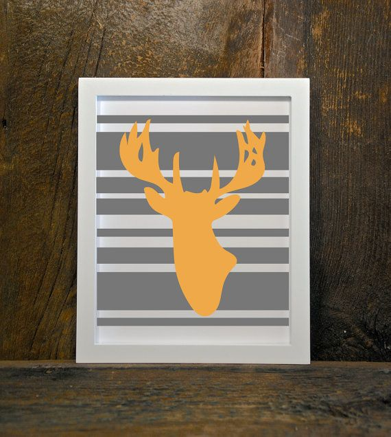ANTLERS buck deer stripes woodland animals by MountainViewPrints