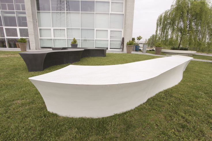 """""""Meteor"""" benche series is a great piece of urban furniture design by Samuli Naamanka; the combination of wild shapes and graphic concrete texture is simply attractive."""