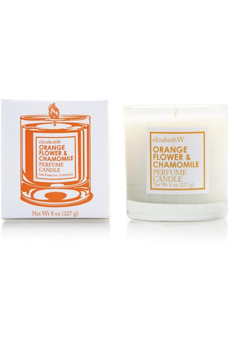 Bring the wonderful fragrance of Orange Flower and Chamomile into your home with this beautiful candle poured in glass. This candle is hand-poured with 100% renewable soy (vegetable) wax and has a paper core wick, meaning it will provide a cleaner burn with a pure fragrance. The wax is specially formulated to hold scent, and the good folks at elizabethW really know how to add as much fragrance as the wax can hold.    Each candle includes 8 ounces (227 grams) of wax.   Orange Chamomile…
