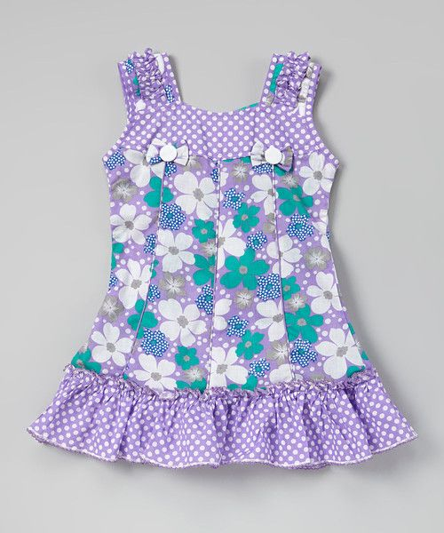 Purple & Turquoise Floral Ruffle Dress
