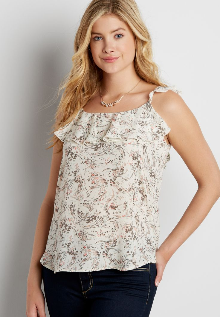 patterned chiffon tank with ruffles (original price, $26.00) available at #Maurices