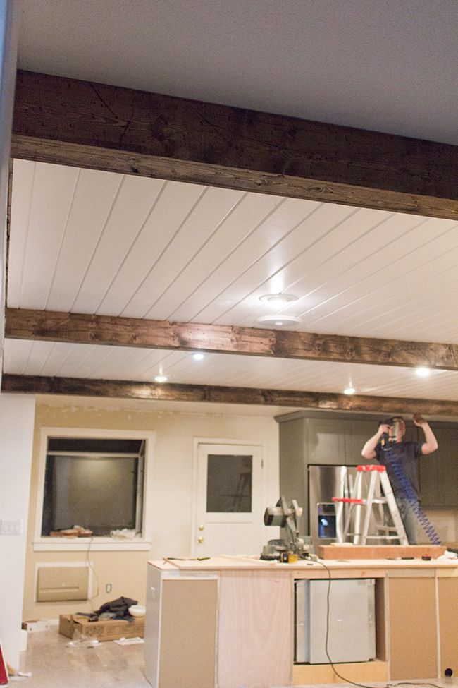 Diy faux wood beams really cool idea how she made them for Where to buy faux wood beams