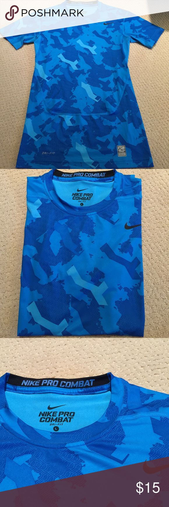 Nike Pro Combat Dri-Fit Compression Shirt Men's LG Very Gently Worn-no signs of wear!! Men's Size Large- Nike Pro Combat Compression Shirt- light blue & royal blue with black Nike swoosh! Nike Shirts Tees - Short Sleeve