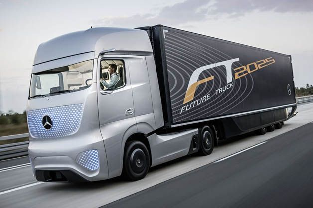 Within ten years, Mercedes envisions trucks will drive themselves down the Autobahn and will look like this.