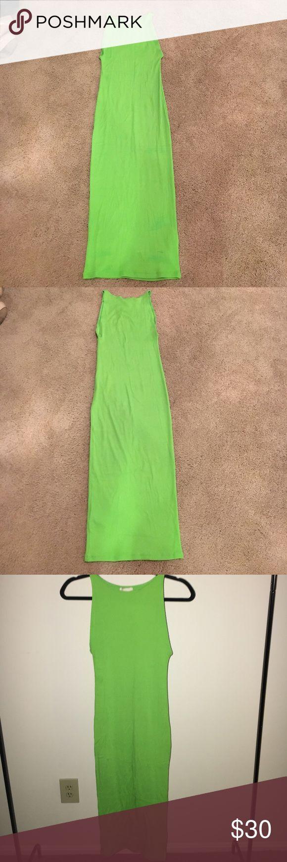 Lime Green Dress Midi- Length Dress• Ribbed• Lime Green• Great for upcoming Spring/Summer Season• Brand New• H&M Dresses Midi