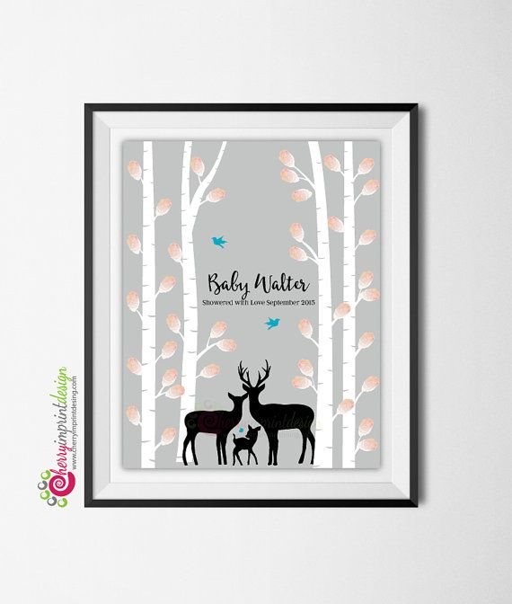 Printable Deer Family Woodland Baby Shower Guest Book by CherryImprintDesign on Etsy