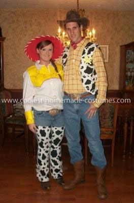 Coolest Woody and Jessie Adult Couple Costume: I found the Woody shirt and hat at a thrift store. I bought a red fabric marker and created the grid pattern on the yellow shirt. I made the vest out of