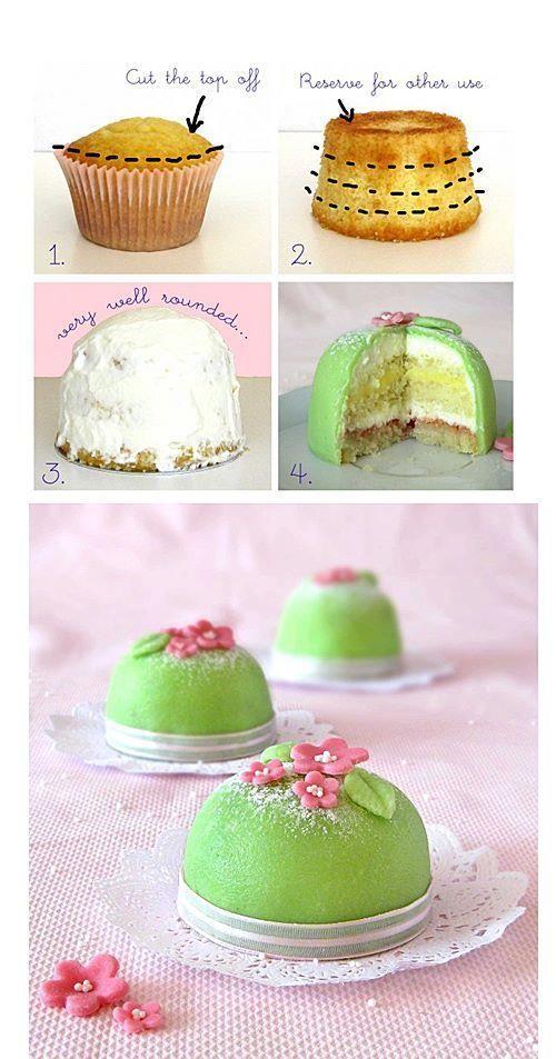 Idee für Minikuchen - Teig in Cupcakeform backen, füllen und verzieren.: