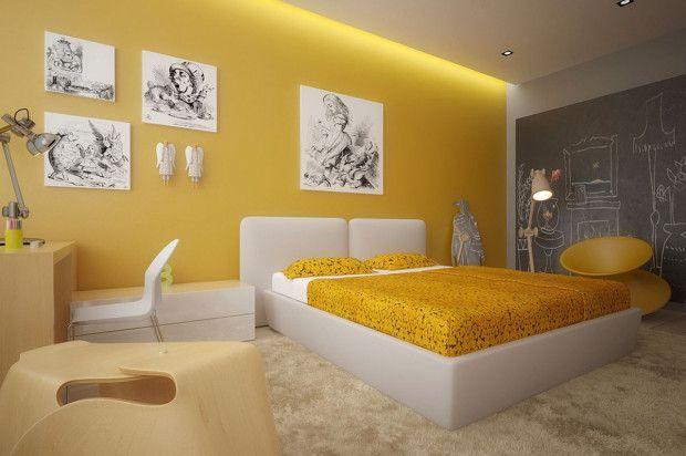 Moderne gele slaapkamer met grijs, wit en licht beuken en zwart/witte tekeningen