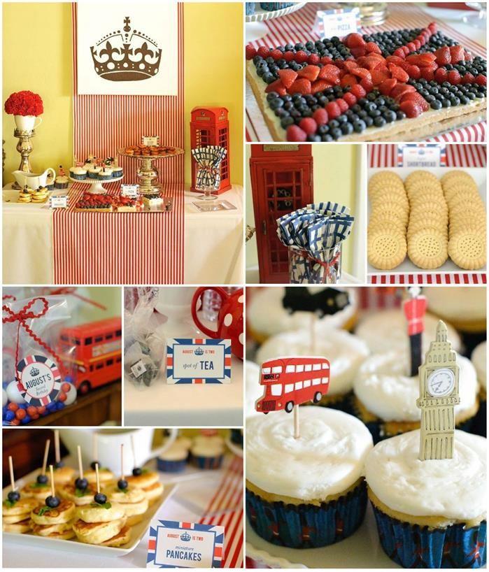 """London Calling""- A British Themed Birthday Bash FULL of CUTE IDEAS via Kara's Party Ideas | Kara'sPartyIdeas.com #London #BritishParty #Tea..."