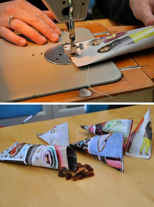DIY Bags from Old Magazines- good idea for party favors or gift bags- not food though.