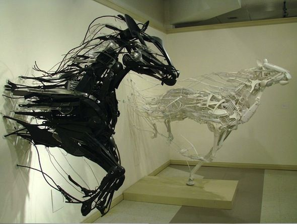 """Animal Sculptures from Discarded Utensils  Japan born artist Sayaka Ganz is driven by fitting strange objects together into amazingly fluid sculptures… which is good because she says she has a """"strange sympathy for discarded objects."""": Sculptures, Inspiration, Horses, Art, Horse Sculpture, Sayaka All, Design, Animal"""