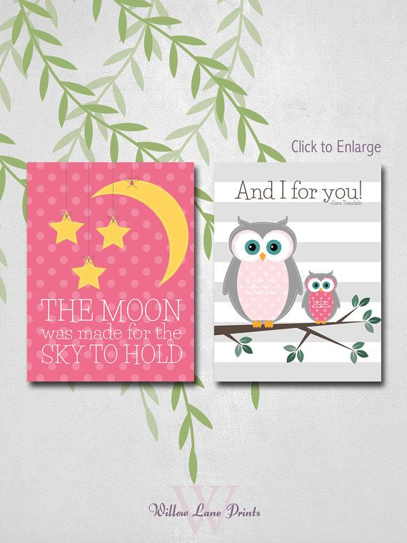 kid wall art baby girl owl nursery Owl Nursery by WillowLanePrints, $30.00