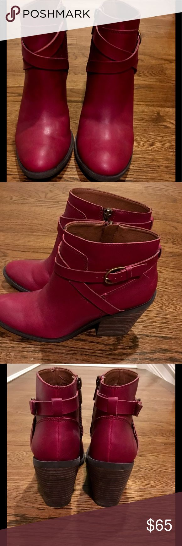 LUCKY BRAND RED ZIP UP BOOTIES Super cute go with everything red Lucky Brand booties. Worn only a few times like new condition except for slight mark on heel (pictured) which can easily be cleaned off or colored in. Did not want to do it as to show that' it is there. Lucky Brand Shoes Ankle Boots & Booties