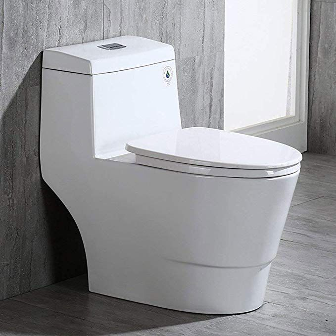 Woodbridge T 0001 Dual Flush Elongated One Piece Toilet With Soft Closing Seat Comfort Height Water Sense High Ef Wood Bridge Water Sense