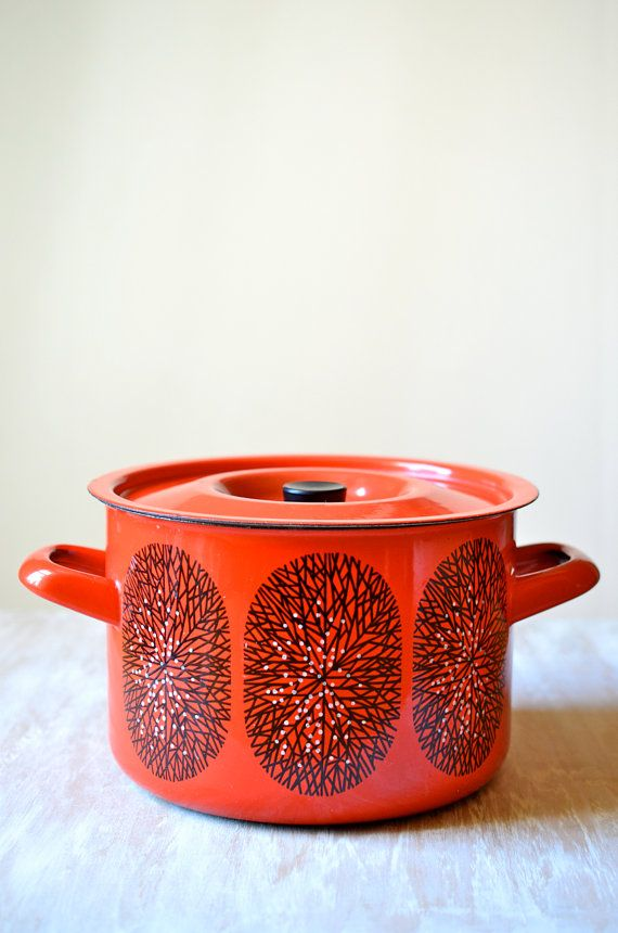 Rare Finel Arabia Finland Red White and Black Snowflake Enamel Vintage Stock Pot, Soup Pan, Bowl by Kaj Franck on Etsy, $60.00