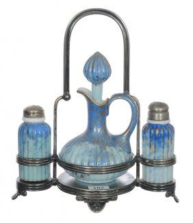 """9 1/2"""" X 8"""" THREE PIECE CONDIMENT SET BY PAIRPOINT"""