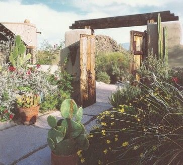 Desert courtyard / landscape / garden in Phoenix - By: Linda Robinson Design Associates / Interior Designers - Adobe ranch house - Antique wood gate doors