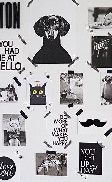Un moodboard noir et blanc sympa réalisé avec du masking tape trouvé sur PLanète déco. Faites le plein de bonnes idées sur notre tableau Pinterest Masking Tape déco https://fr.pinterest.com/bonjourbibiche/masking-tape-d%C3%A9co/ #inspiration #decoration #washitape
