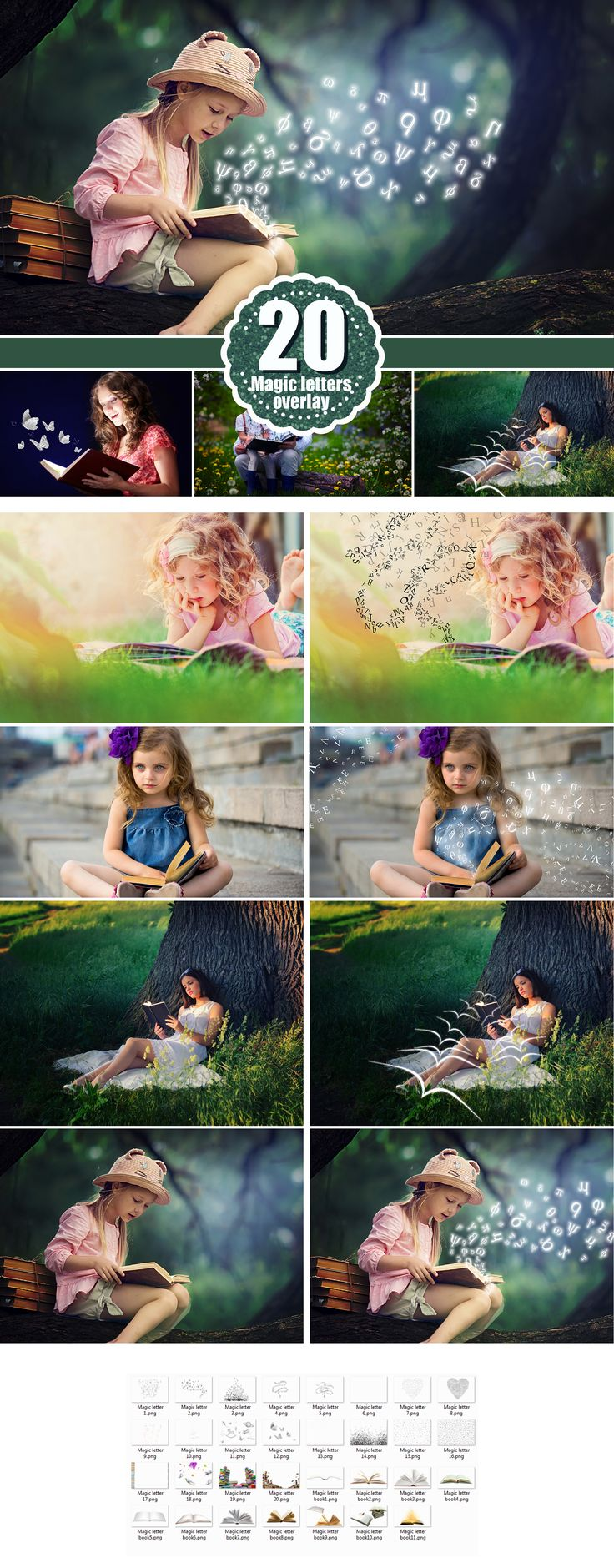 Falling letters, magic shine book, Photo Overlays, scrambled letters, Photoshop Overlay, Photo effect, fairy