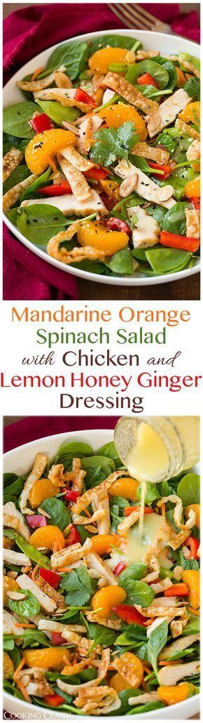 El almuerzo- Ensalada con mandarina naranja, pollo, y espinacas. Servido con limón jengibre aderezo. !Es una comida ligera y divertida de hacer!