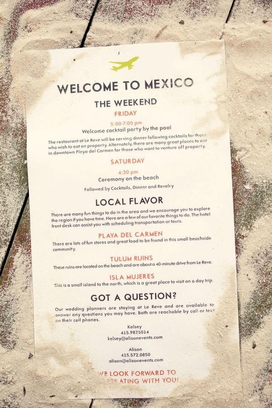 Destination Wedding Welcome Page Mexico Destination