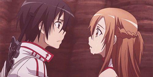 Sword Art Online - GIF de Kirito embrassant Asuna pour la première fois ♡☆♡☆♡