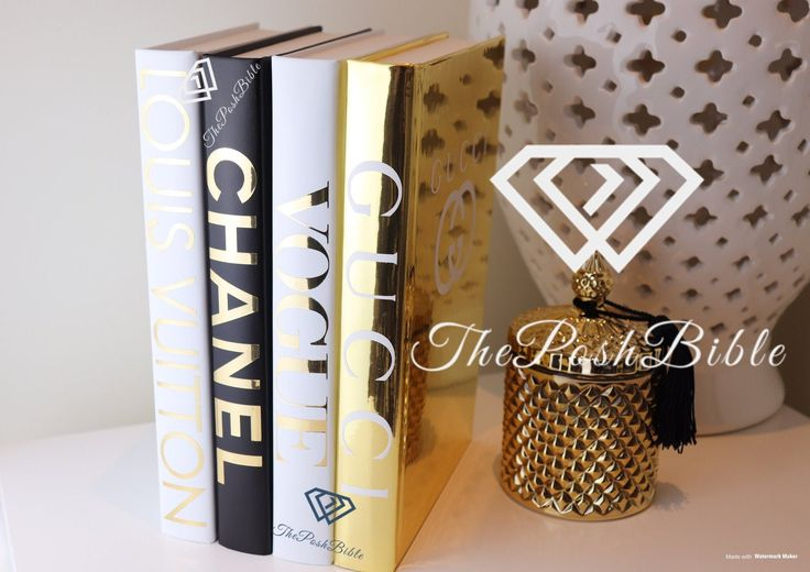 4 BOOKS designer inspired Gold White & Black BLANK Book set of 4