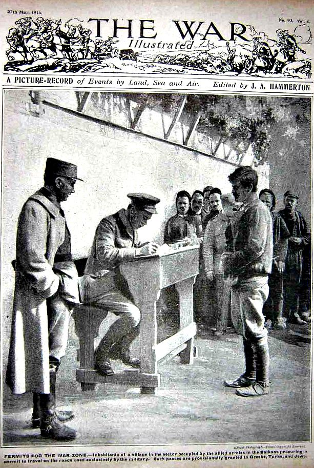 """WWI, The War Illustrated 1916; """"Permits for the War Zone, Balkans"""""""
