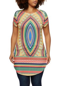 Plus Size Dashiki Print Tunic Top - 3912058937415