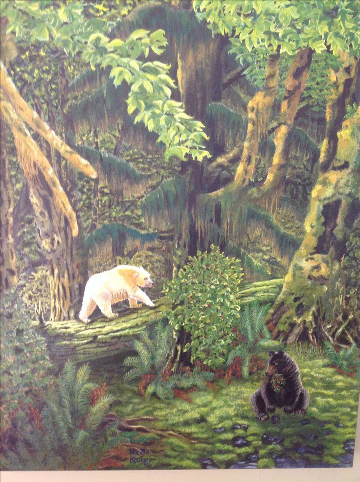 "Kermode Spirit Bear Acrylic painting on canvas. 36"" X 24""."