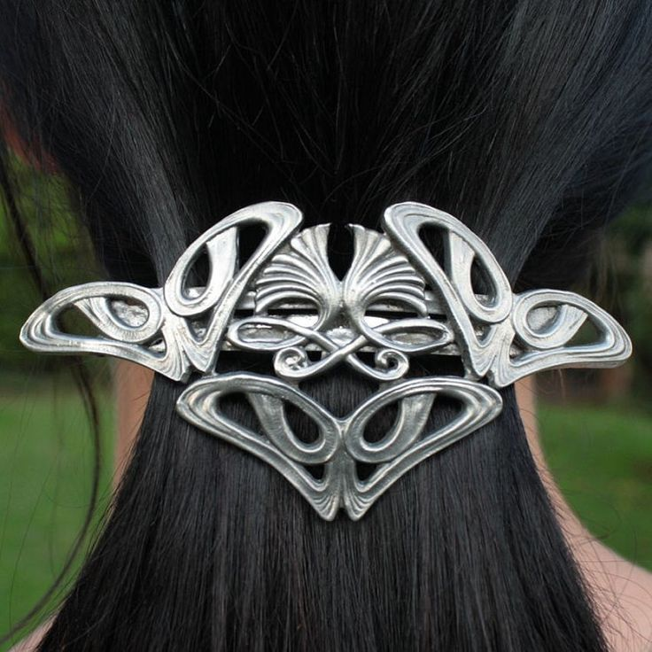 Art Nouveau tin hair brooch clip by WulflundJewelry on Etsy