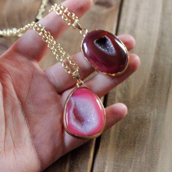 Rosa agata Geode pietra collana in oro rosa rosso di EwelinaPas
