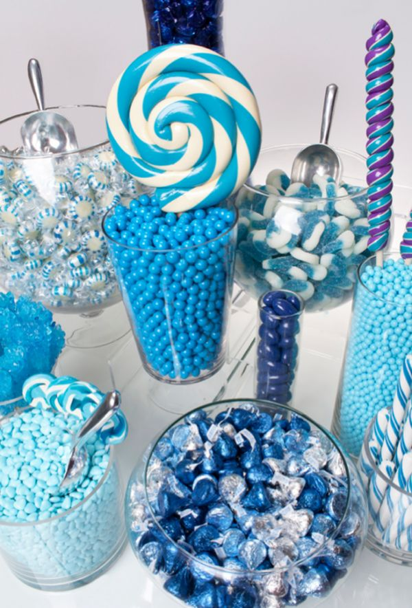 Sandra @ ribbonsandfavors.com Inspiration photo. Blue candy buffet.  (use www.customweddingprintables.com for custom chocolate wrappers!!!)