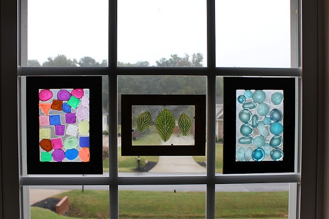 DIY window mosaics | Very cool - cheap photo frames with suction cups superglued onto the back!