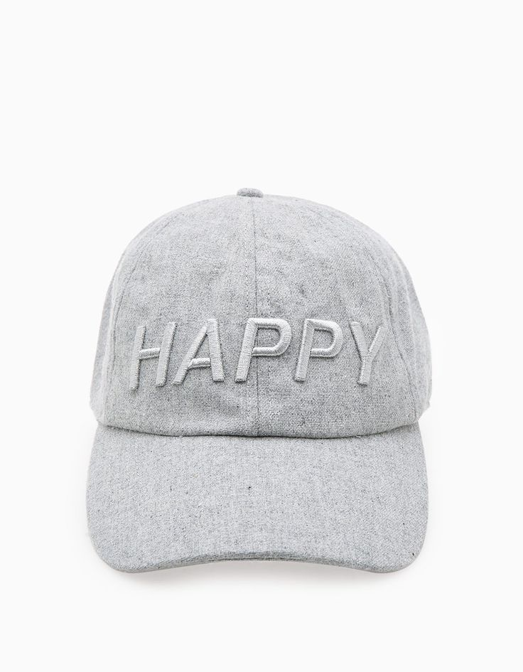 Cap with 'happy' message