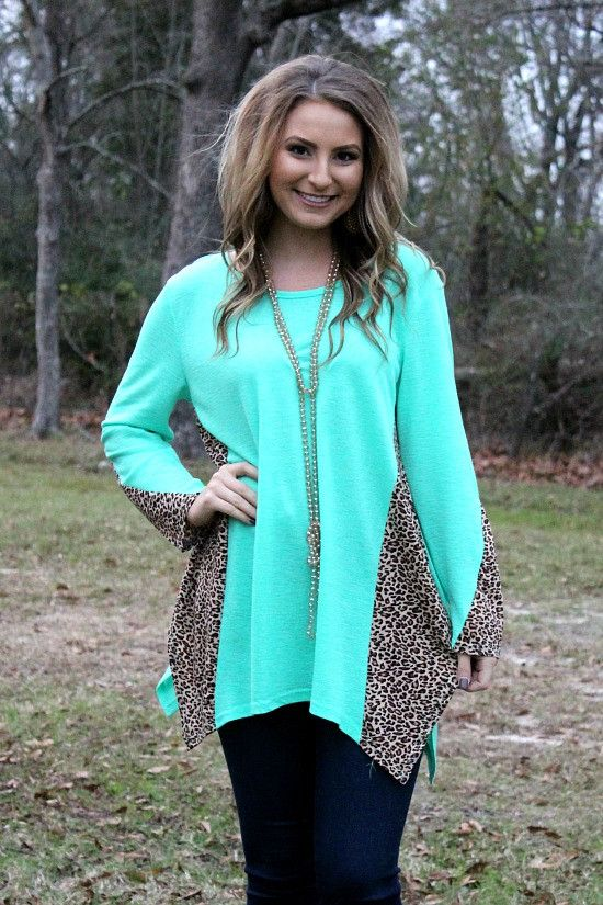 Among the Wild Long Sleeve Cheetah Tunic in Mint – Giddy Up Glamour Boutique