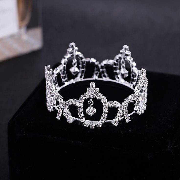 TDQUEEN Silver Plated Full Round Rhinestone Tiaras and crowns for new baby girl photo wholesale hair accessories #Affiliate