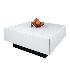 Couchtisch Singapur - Dekor Hochglanz Weiß - mit Schubkasten der Marke Home Design, Maße: Höhe 34 cm Breite 80 cm